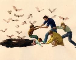 Team MachoCaution - BATS17.75 x 10.5 in. Watercolour on Paper.  2010