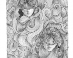 KozyndanLadies of the Lockes2.5 x 3.75 in. Graphite on Paper