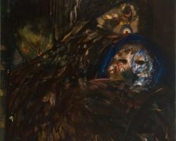 """Leon BennThe Owls32"""" x 28"""" Oil on canvas. 2009"""