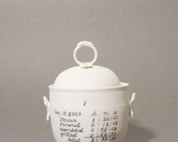 Naomi YasuiA Form & Method of Perfecting Pots Porcelain, overglaze, glaze, gold lustre. 2009
