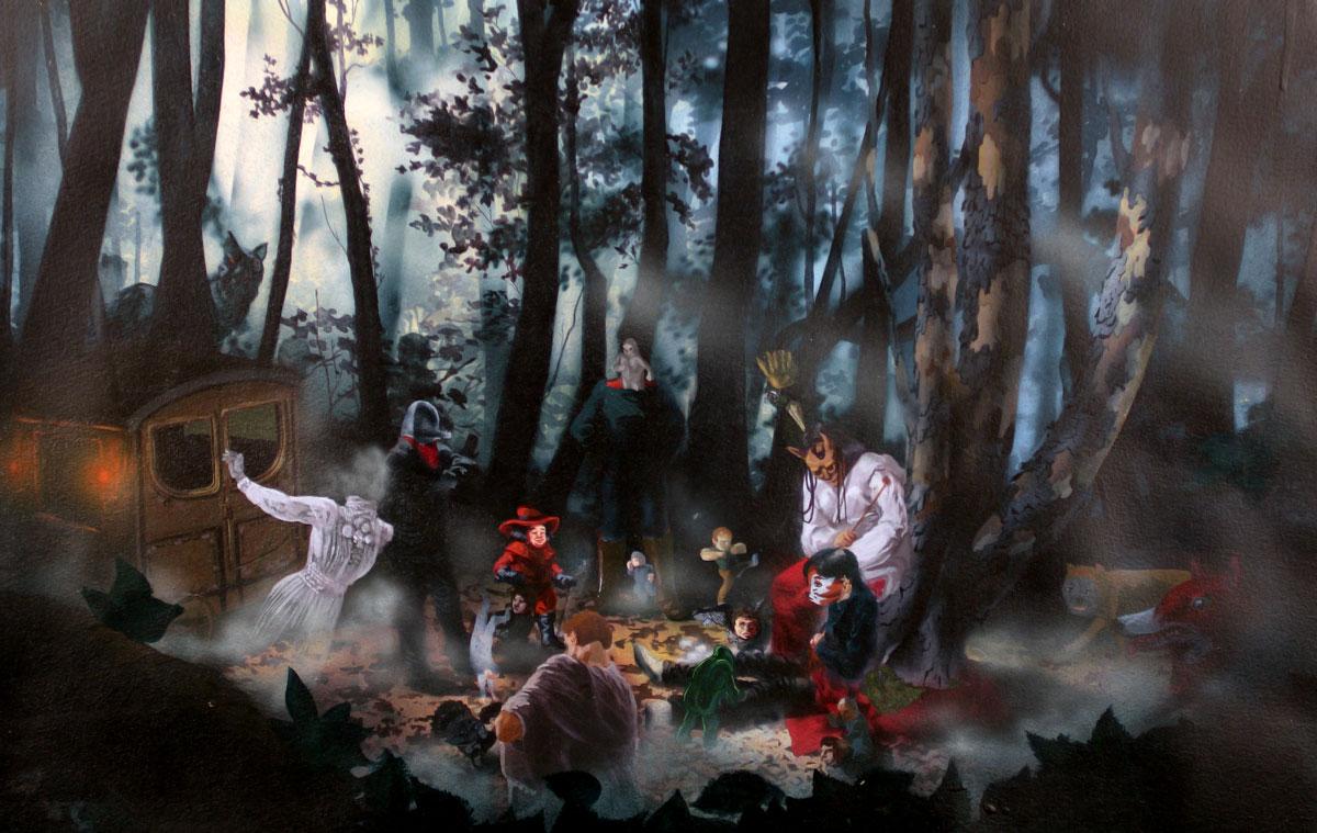 Nicholas AokiI Spirit Fled Into the Gloom Below, 200920.5 x 13 in. unframed, 25.25 x 17.75 in. framed. Acrylic on Paper.