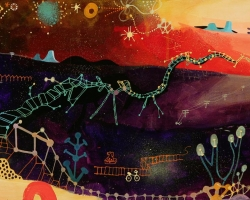 "Souther SalazarA Bridge Slowly Unfolds30 x 12"" Acrylic, Ink, Collage on wood panel. 2012"