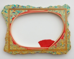 "Christian MaychackBENT OVAL (CF30)Epoxy clay, pigment, and wood. 19 x 25.75 x 1.75"" 2012"