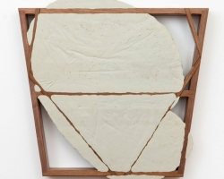 "Christian Maychack PUSHY (CF25)22 x 22 x 1.75"" Epoxy clay, pigment, and wood. 2012"