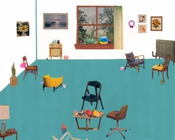 Jessalyn Aaland Waiting Room Collage on paper 2012