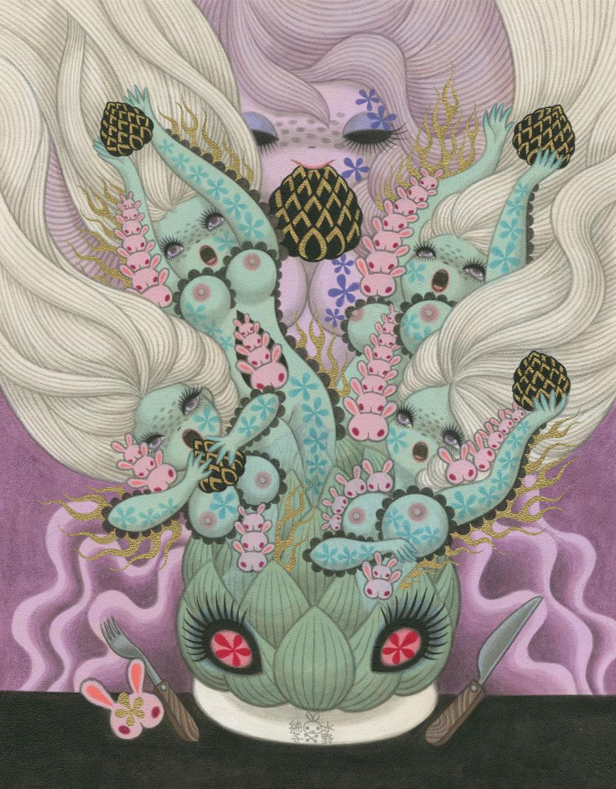 """Junko MizunoArtichoke16 x 20"""" Acrylic on canvas. 2012"""