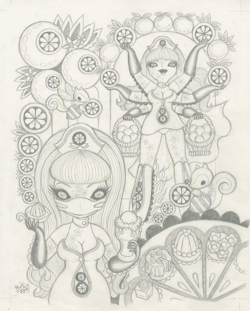 Junko MizunoOranges Sketch10 x12.5 in. Graphite on Paper. 2012