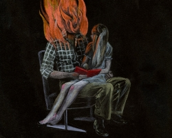 "Team MachoNo Story Tonight,Daddy on Fire6.25 x 9.25"" Pencil crayon on paper. 2013"