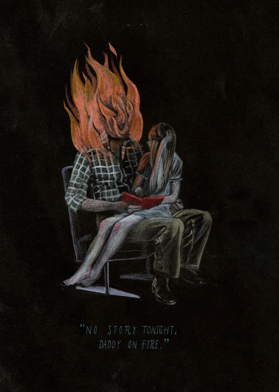 "Team Macho No Story Tonight, Daddy on Fire, 20136.25 x 9.25""  Pencil crayon on paper."