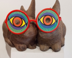 Mystery Date Cameron Lee2 Flocked rabbit coin banks, plastic and cardboard novelty glasses. 2012