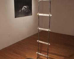 "Faith La Roque Celestial Ladder Clear quartz crystals, rope, twine 14"" x 3"" x 30'. 2011"