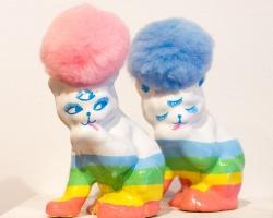 "Ginette LapalmePomtete Bleu Pomtete Rose Approx. 4.5 x 2 x 3.5"". Ceramics, mixed media. 2012"