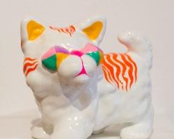 "Ginette LapalmeTsitigre2.5 x 2 x 3"". Ceramics, paint, and ephermera. 2012"