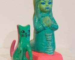 "Ginette LapalmeTsitsi 1.5 x 1 x 3"". Ceramic, paint, mixed media. 2012"