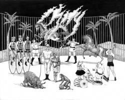 "Jamiyla LoweDark Carnival 17 x 21"" Ink & Graphite on wood. 2011"