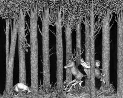 "Jamiyla LoweGreen Forest21 x 17"" Ink on wood. 2011"