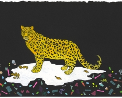 "KozyndanLeopard with Trash16 x 10"" Gouache on paper. 2012"