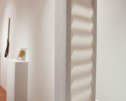"Nikki Woolsey Window 24 x 11 x 3"" Wood, fabric, paint. 2012"