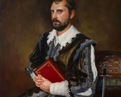 "Lauchie ReidSelf Portrait as a More Interesting Man 18 x 24"" unframed, 21 x 27"" framed.Oil on panel. 2012"