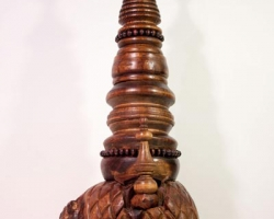 "Noel MiddletonHelm of the Determinist28 "" tall. Wood, Oil. 2010"