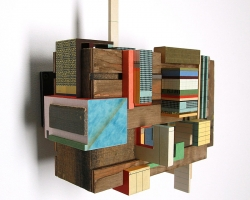Jacob Whibleynothing new under the sunPaper ephemera & found wood. 12.75 x 11.75 x 5 in.  2011
