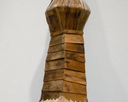 "Noel MiddletonJaga's Abecedarians24 "" tall. Wood, Mixed Media. 2009"