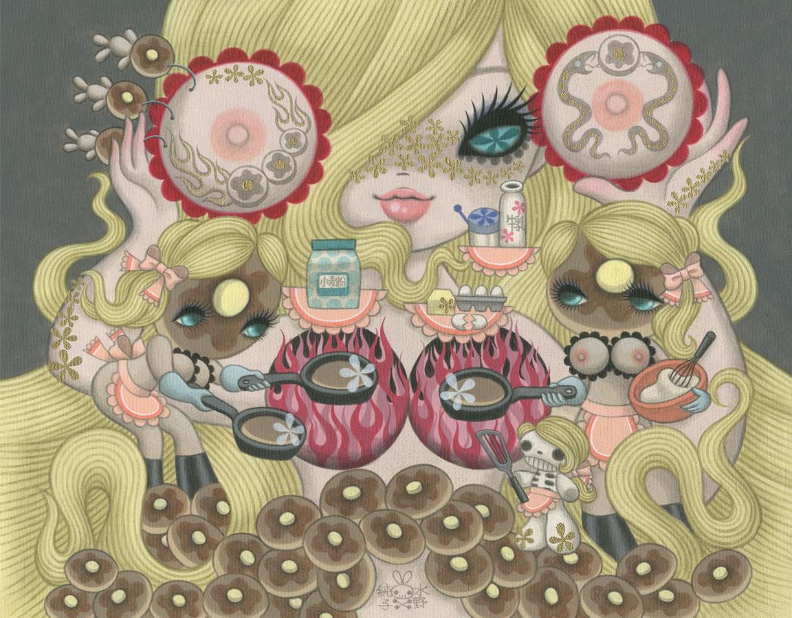 Junko MIzunoPancakes20 x 16 in. Acrylic on Canvas 2012