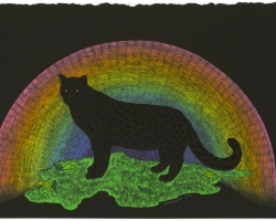 "KozyndanRainbow Black Panther16 x 10"" framed. Gouache on paper. 2012"