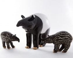 "KozyndanTapir Family Hand-built ceramic Approx 3-6"" tall. 2012"