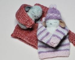 """Sonja AhlersPeanut Bunnies Approx 3"""" Angora wool. 2010"""