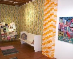 The Reading NookInstallation View Wallpaper by Alicia Nauta, Dreamsicle Bricks by Ella Selbie.  2012