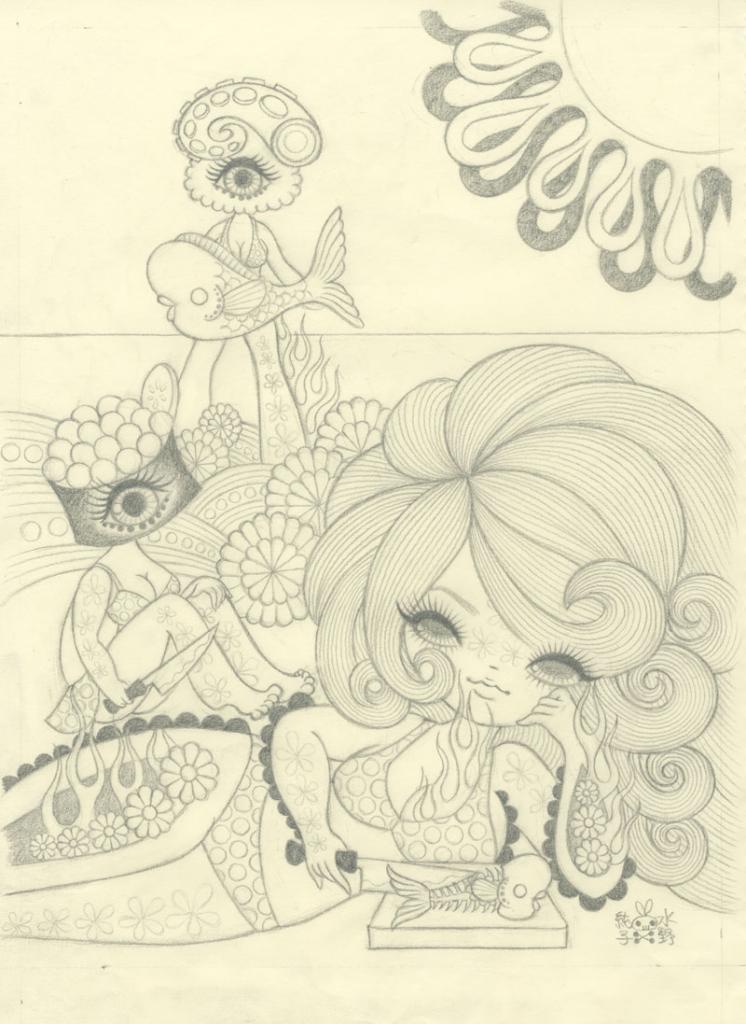 Junko Mizuno Sushi II Graphite Study10 x 12.5in. Graphite on paper 2012