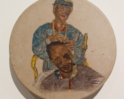 Frohawk Two FeathersBonnie Prince Johnnie Braiding Anibal's Hair12 x 12 x 4in. Acrylic, ink, on deerskin 2013