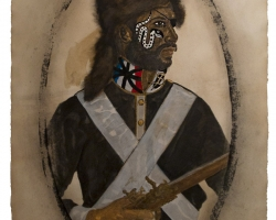 Frohawk Two FeathersFear not of man because men must die30 x 22in. Mixed media on paper 2013