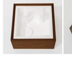 """Jacob Whibleythe even gift of subtraction Polystyrene & walnut19"""" w x 9"""" l x 9"""" h  2013"""