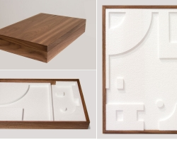 """Jacob Whibleythe flat gift of subtraction Polystyrene & walnut12"""" w x 18"""" l x 3.125"""" h  2013"""