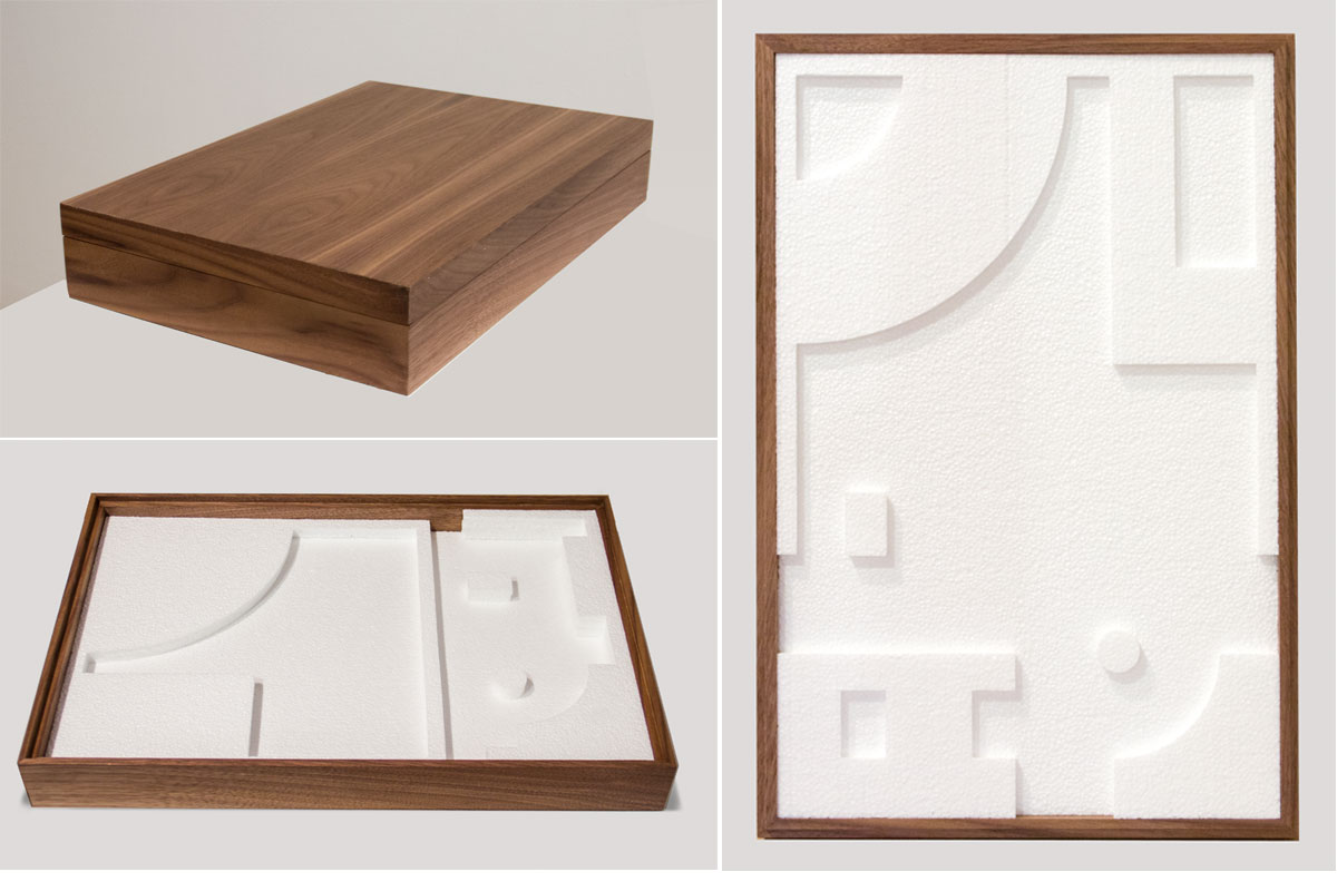 "Jacob Whibleythe flat gift of subtraction Polystyrene & walnut12"" w x 18"" l x 3.125"" h 2013"