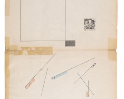 """Jacob Whibleythere are no soloists in a fugue (1886-2013) Ink, graphite and ephemera on paper9.5 x 12.5"""" 2013"""