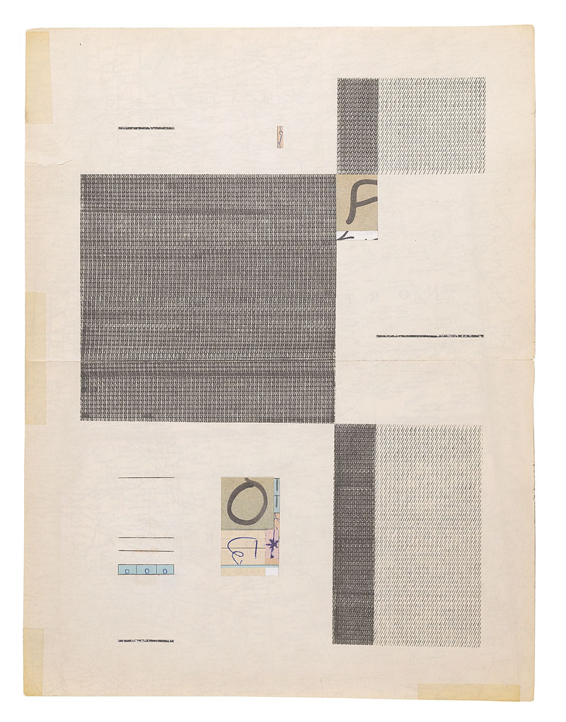 """Jacob Whibleythere are no soloists in a fugue (1959-2013) Ink, graphite and ephemera on paper 9.5 x 12.5"""" 2013"""