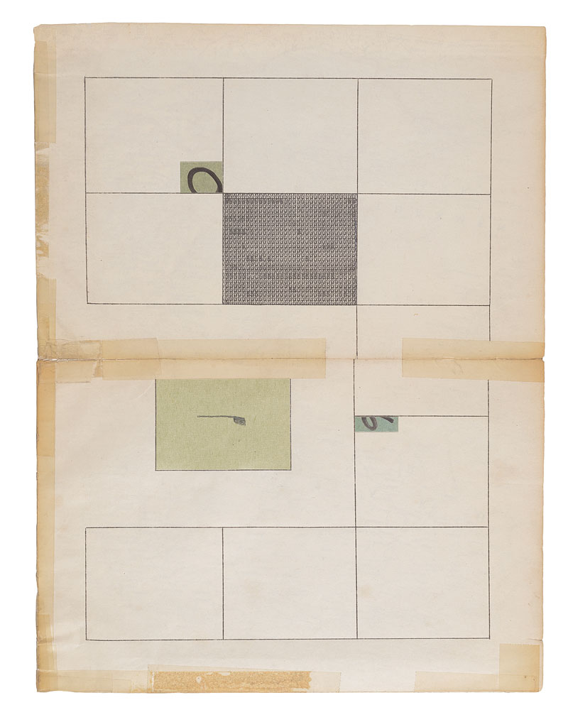 """Jacob Whibleythere are no soloists in a fugue (1959-2013) II Ink, graphite and ephemera on paper9.5 x 12.5"""" 2013"""