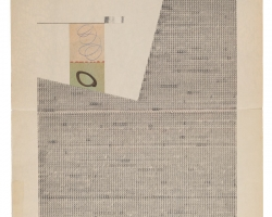 """Jacob Whibleythere are no soloists in a fugue (1959-2013) III Ink, graphite and ephemera on paper9.5 x 12.5"""" 2013"""