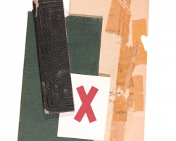 "Jacob Whibleyit from bit Paper ephemera on panel, 6.75 x 11""   2013"