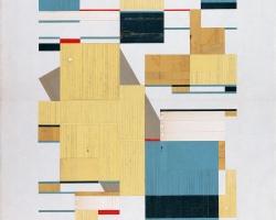 "Jacob Whibleytop end of one pair Paper ephemera on panel18 x 24""  2013"