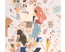 """Jacob Whibleywith red wedge Paper ephemera on panel11 x 22"""" 2013"""
