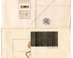 "Jacob Whibleyca epochal rig (1886-2012) Ink and ephemera on paper10 x 13""  2013"