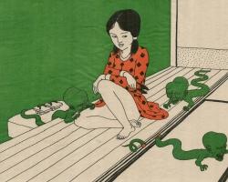 "Toshio Saeki Hitotoki 16.25""  x 21.5"" Letterpress print.  Signed & stamped. Edition of 30. 1972"