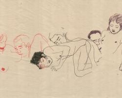 "Toshio Saeki Irogarami III 16.25""  x 21.5"" Letterpress print.  Signed & stamped. Edition of 30. 1972"