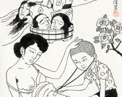 Toshio Saeki Nodokagawa 11.75 x 18.25in. Ink on paper, vellum. 1977
