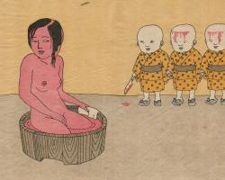 """Toshio Saeki Sanninwarabe 16.25""""  x 21.5"""" Letterpress print.  Signed & stamped. Edition of 30. 1972"""