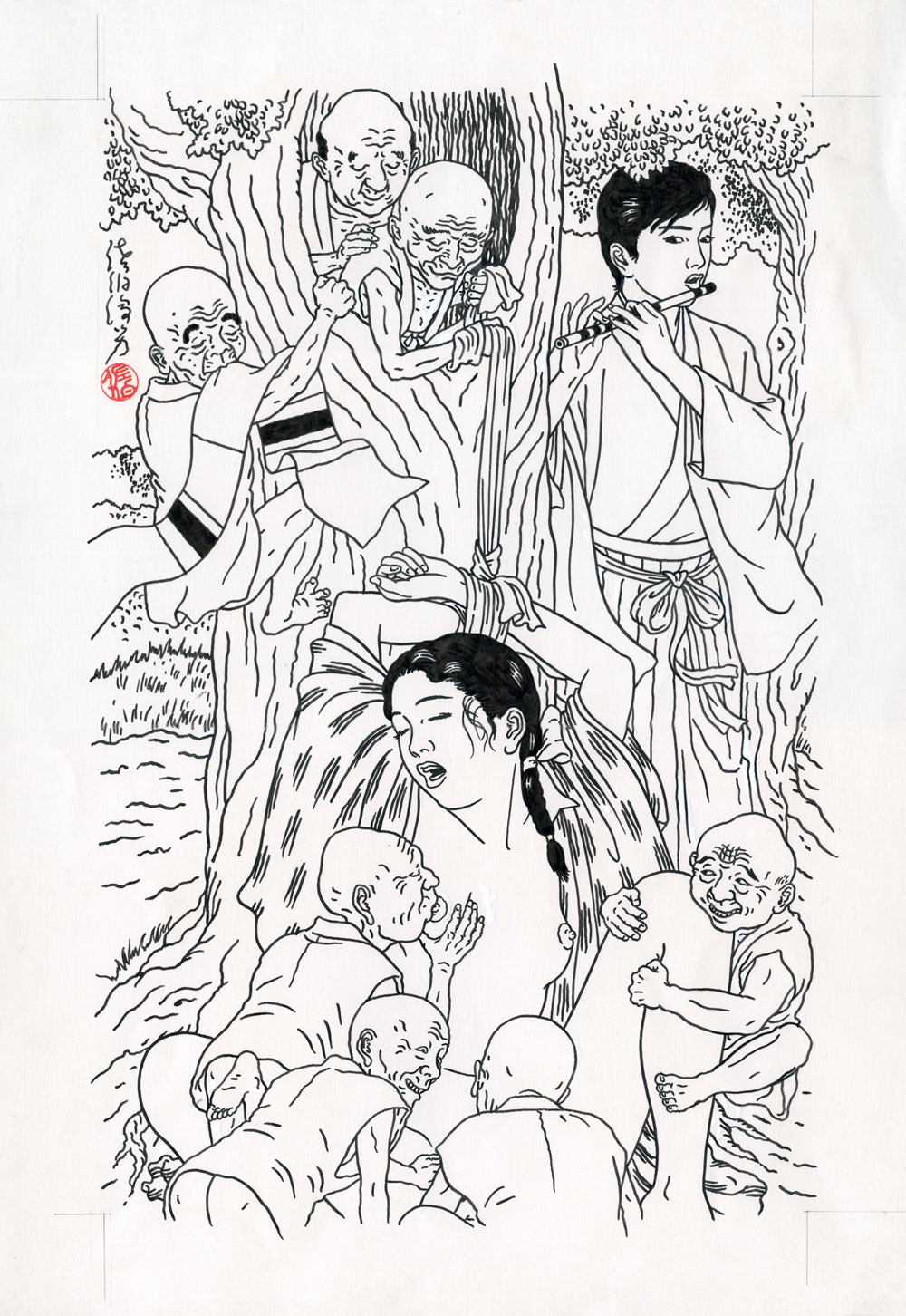 Toshio SaekiYaetsubue11.75 x 17 in. Ink on paper, vellum1986